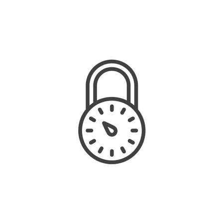 Safe lock outline icon. linear style sign for mobile concept and web design. Padlock password combination simple line vector icon. Symbol,  illustration. Pixel perfect vector graphics Imagens - 112410822