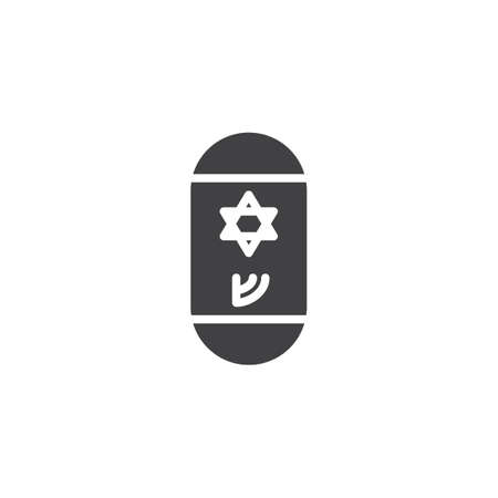 Jewish mezuzah vector icon. filled flat sign for mobile concept and web design. Mezuzah with Hebrew letter and David star simple solid icon. Symbol, logo illustration. Pixel perfect vector