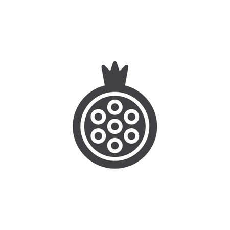 Pomegranate fruit vector icon. filled flat sign for mobile concept and web design. Simple solid icon. Pomegranate juice symbol, logo illustration. Pixel perfect vector graphics