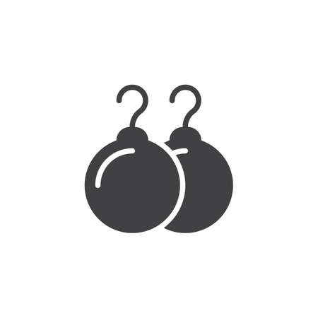 Pearl earrings vector icon. filled flat sign for mobile concept and web design. Female jewellery simple solid icon. Symbol, logo illustration. Pixel perfect vector graphics