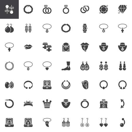 Jewellery accessories vector icons set, modern solid symbol collection, filled style pictogram pack. Signs, logo illustration. Set includes icons as Diamond Earrings, Pearl necklace, Gemstone Ring