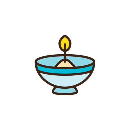 Hebrew Candle filled outline icon, line vector sign, linear colorful pictogram isolated on white. Oil lamp symbol, logo illustration. Pixel perfect vector graphics Ilustração