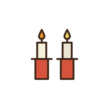 Shabbat candles filled outline icon, line vector sign, linear colorful pictogram isolated on white. Jewish Candles symbol, logo illustration. Pixel perfect vector graphics