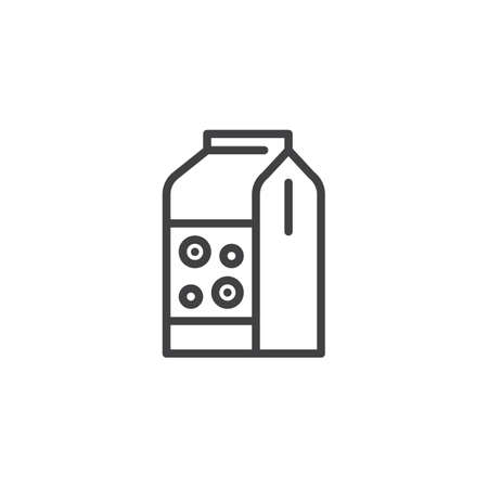 Cereals package outline icon. linear style sign for mobile concept and web design. Flakes paper bag simple line vector icon. Symbol, logo illustration. Pixel perfect vector graphics Çizim