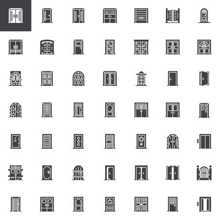 Types de jeu d'icônes vectorielles de portes, collection de symboles solides modernes, pack de pictogrammes de style rempli. Signes, illustration de logo. L'ensemble comprend des icônes telles que porte fermée, porte d'ascenseur, porte d'entrée double
