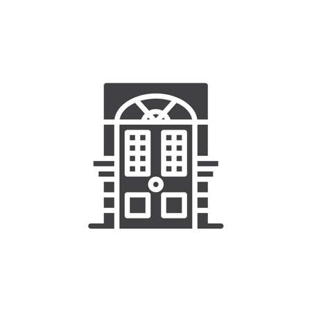 Ornamental door vector icon. filled flat sign for mobile concept and web design. Entrance gate simple solid icon. Symbol, logo illustration. Pixel perfect vector graphics