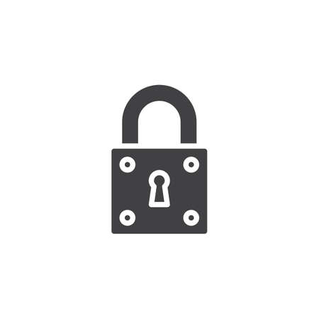 Padlock lock vector icon. filled flat sign for mobile concept and web design. Locked padlock simple solid icon. Protect Symbol, logo illustration. Pixel perfect vector graphics Imagens - 112732128