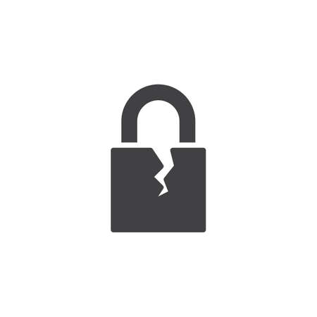 Broken padlock vector icon. filled flat sign for mobile concept and web design. Cracked lock simple solid icon. Symbol, logo illustration. Pixel perfect vector graphics
