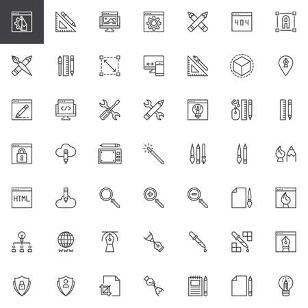Designer tools outline icons set. linear style symbols collection, line signs pack. vector graphics. Set includes icons as Web design, Crop, 3d, Font, Eyedropper, Ruler, Idea, Transformation Computer