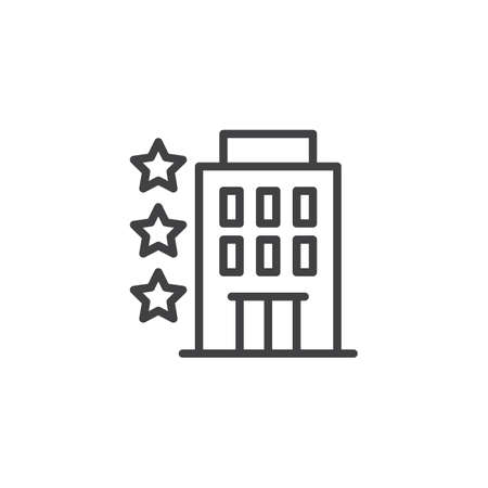 Three star hotel outline icon. linear style sign for mobile concept and web design. Hotel building simple line vector icon. Symbol, logo illustration. Pixel perfect vector graphics Illustration