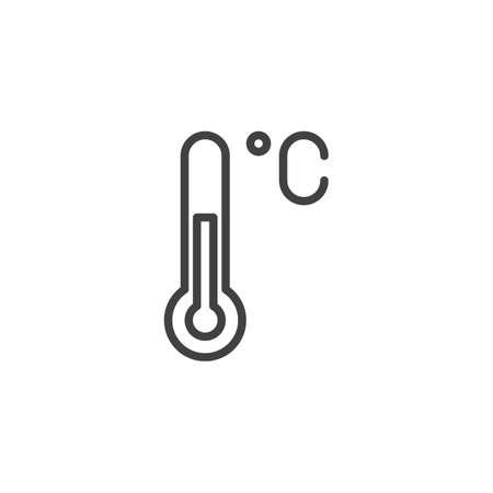 Icône de contour de thermomètre Celsius. signe de style linéaire pour le concept mobile et la conception Web. Icône de vecteur de ligne simple de température. Symbole, illustration du logo. Pixel graphiques vectoriels parfaits Logo