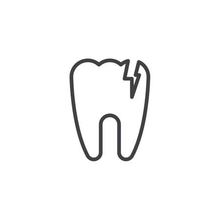 Broken tooth outline icon. linear style sign for mobile concept and web design. Cracked tooth simple line vector icon. Dental care symbol, logo illustration. Pixel perfect vector graphics