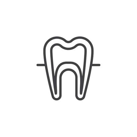 Human tooth model outline icon. linear style sign for mobile concept and web design. Dentistry teeth simple line vector icon. Symbol, logo illustration. Pixel perfect vector graphics Illustration