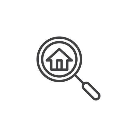 Search house outline icon. linear style sign for mobile concept and web design. Magnifying glass and home simple line vector icon. Symbol, logo illustration. Pixel perfect vector graphics