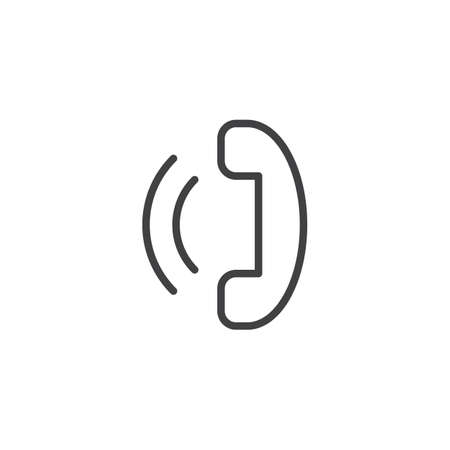 Phone call outline icon. linear style sign for mobile concept and web design. Handset telephone simple line vector icon. Symbol, logo illustration. Pixel perfect vector graphics  イラスト・ベクター素材