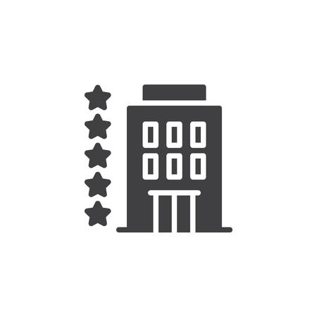 Five star hotel vector icon. filled flat sign for mobile concept and web design. Hotel building simple solid icon. Symbol, logo illustration. Pixel perfect vector graphics