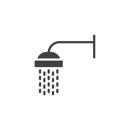Shower with water drops vector icon. filled flat sign for mobile concept and web design. Showerhead simple solid icon. Symbol, logo illustration. Pixel perfect vector graphics