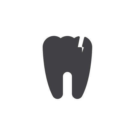 Broken tooth vector icon. filled flat sign for mobile concept and web design. Cracked tooth simple solid icon. Symbol, logo illustration. Pixel perfect vector graphics