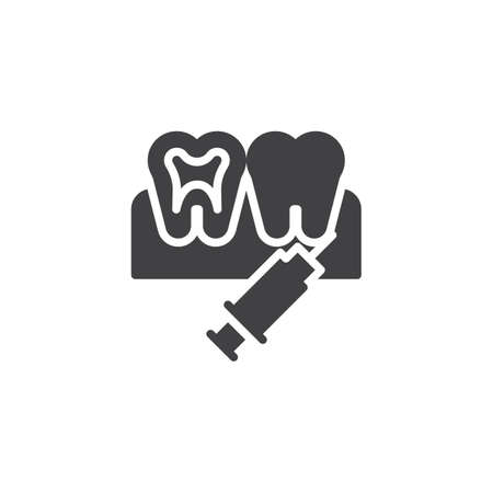 Dental anesthesia vector icon. filled flat sign for mobile concept and web design. Teeth injection simple solid icon. Symbol, logo illustration. Pixel perfect vector graphics Stock Vector - 113716018