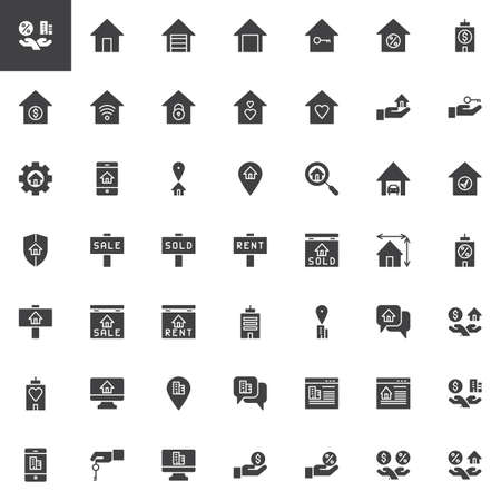 Real estate vector icons set, modern solid symbol collection filled style pictogram pack. Signs logo illustration. Set includes icons as House stairs, Garage, Home Location, Insurance, Office building