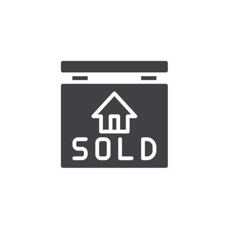 Sold sign hanging vector icon. filled flat sign for mobile concept and web design. Real estate simple solid icon. Symbol, logo illustration. Pixel perfect vector graphics