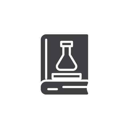 Chemistry book vector icon. filled flat sign for mobile concept and web design. Book with chemical flask simple solid icon. Symbol, logo illustration. Pixel perfect vector graphics