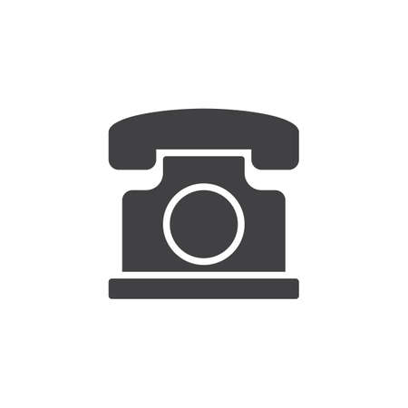 Old vintage telephone vector icon. filled flat sign for mobile concept and web design. Retro phone simple solid icon. Symbol, logo illustration. Pixel perfect vector graphics Illustration