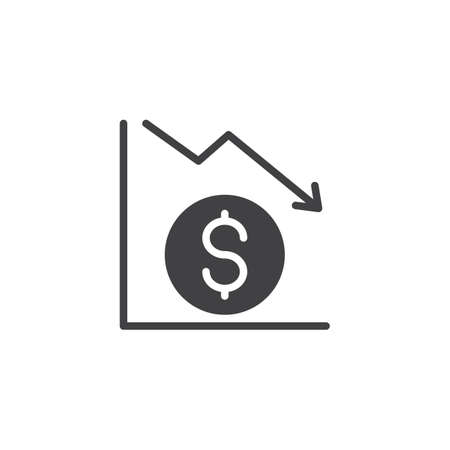Dollar graph vector icon. filled flat sign for mobile concept and web design. Falling dollar currency rate simple solid icon. Finance crisis symbol, logo illustration. Pixel perfect vector graphics
