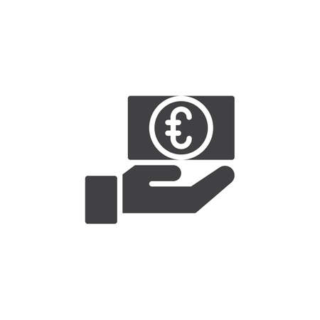 Euro currency exchange vector icon. filled flat sign for mobile concept and web design. Hand and money simple solid icon. Symbol, logo illustration. Pixel perfect vector graphics Ilustracja