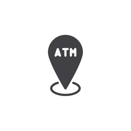 ATM location pin vector icon. filled flat sign for mobile concept and web design. atm map pointer simple solid icon. Symbol, logo illustration. Pixel perfect vector graphics