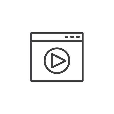 Online media player outline icon. linear style sign for mobile concept and web design. Website window and play button simple line vector icon. Symbol, logo illustration. Pixel perfect vector graphics Illusztráció