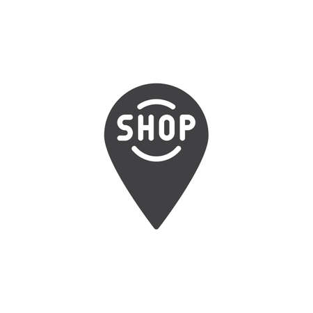 Shop location pin vector icon. filled flat sign for mobile concept and web design. shop map marker simple solid icon. Symbol, logo illustration. Pixel perfect vector graphics Illustration
