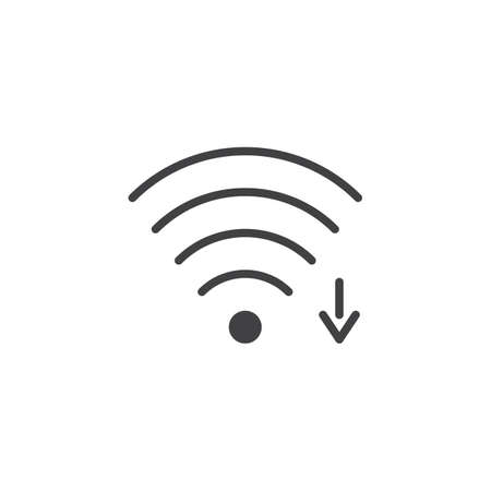 Wi-fi signal arrow vector icon. filled flat sign for mobile concept and web design. Wireless network zone simple solid icon. Symbol, logo illustration. Pixel perfect vector graphics