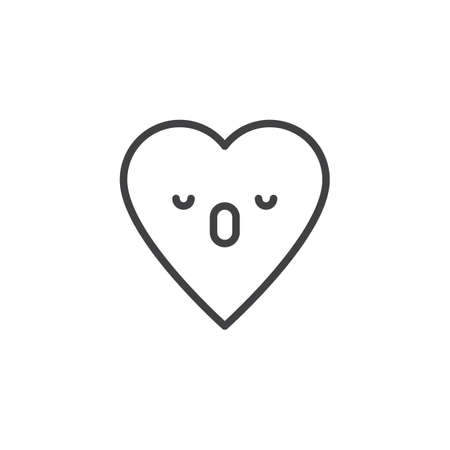 Sleeping Face emoticon outline icon. linear style sign for mobile concept and web design. dormant heart face character emoji line vector icon. Symbol, logo illustration. Pixel perfect vector graphics Ilustrace