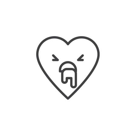 Vomiting face emoticon outline icon. linear style sign for mobile concept and web design. Nauseous heart face character emoji line vector icon. Symbol logo illustration. Pixel perfect vector graphics