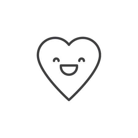Grinning Face With Smiling Eyes emoticon outline icon. linear style sign for mobile concept and web design. Happy heart face character emoji line vector icon. Symbol, logo illustration. Pixel perfect
