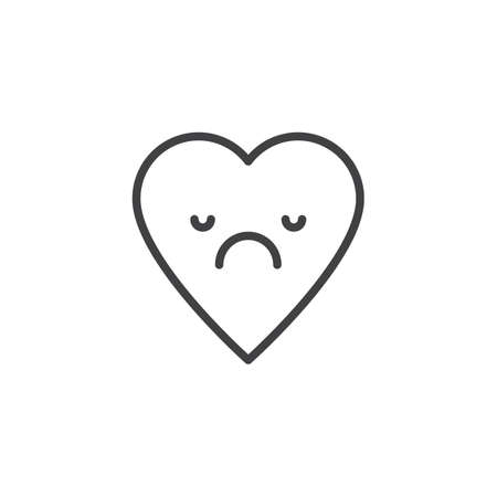 Disappointed Face emoticon outline icon. linear style sign for mobile concept and web design. Sad heart face character emoji line vector icon. Symbol, logo illustration. Pixel perfect vector graphics