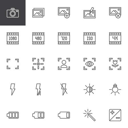 Photo and video functions outline icons set. linear style symbols collection line signs pack. vector graphics. Set includes icons as Photo camera Image gallery, Full screen, Portrait mode, Macro Focus