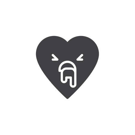 Vomiting face emoticon vector icon. filled flat sign for mobile concept and web design. Nauseous heart face character emoji solid icon. Symbol, logo illustration. Pixel perfect vector graphics
