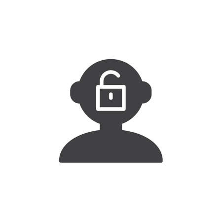 Open mind vector icon. filled flat sign for mobile concept and web design. Human head with open lock simple solid icon. Symbol, logo illustration. Pixel perfect vector graphics Ilustrace