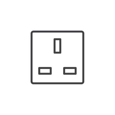 Type G power socket outline icon. linear style sign for mobile concept and web design. Square Electrical outlet simple line vector icon. Symbol, logo illustration. Pixel perfect vector graphics