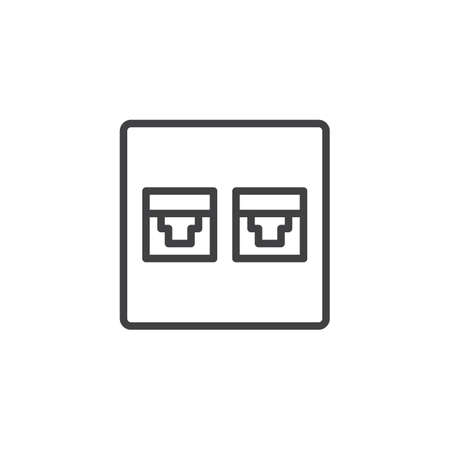 Wire phone socket outline icon. linear style sign for mobile concept and web design. Telephone connector port simple line vector icon. Symbol, logo illustration. Pixel perfect vector graphics