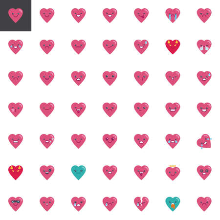 Heart emoji elements collection, flat icons set, Colorful symbols pack contains - Smile emoticon, Happy face smiley, Grinning Face character. Vector illustration. Flat style design Illustration