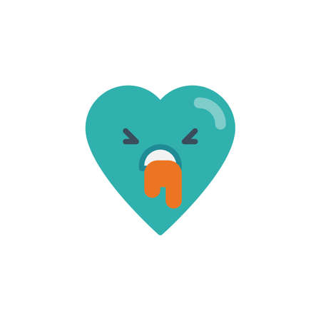 Nauseous heart face character emoji flat icon, vector sign, colorful pictogram isolated on white. Vomiting face emoticon symbol, logo illustration. Flat style design