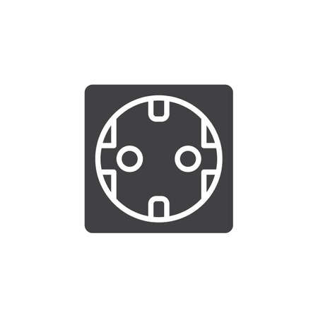 Power socket vector icon. filled flat sign for mobile concept and web design. Electrical Outlet simple solid icon. Symbol, logo illustration. Pixel perfect vector graphics