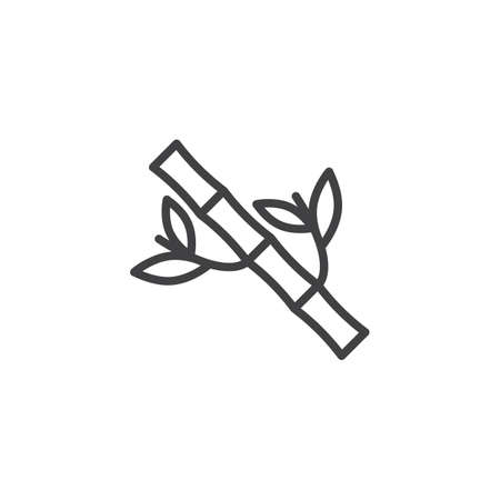 Bamboo tree with leaves line icon. linear style sign for mobile concept and web design. Branch of bamboo outline vector icon. Symbol, logo illustration. Pixel perfect vector graphics Illustration