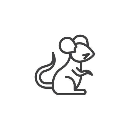 Chinese zodiac Rat line icon. linear style sign for mobile concept and web design. Chinese year of rat outline vector icon. Symbol, logo illustration. Pixel perfect vector graphics Illustration