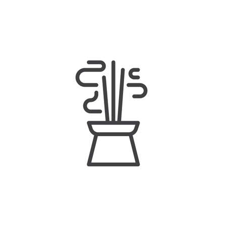 Burning aromatic incense sticks line icon. linear style sign for mobile concept and web design. Chinese Incense outline vector icon. Symbol, logo illustration. Pixel perfect vector graphics Illustration