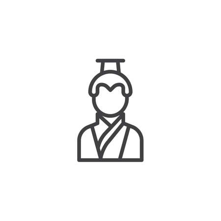 Asian man in traditional clothes line icon. linear style sign for mobile concept and web design. Chinese man outline vector icon. Symbol, logo illustration. Pixel perfect vector graphics Illustration