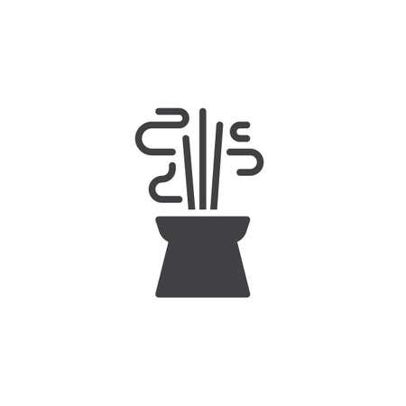 Brûler l'icône de vecteur de bâtons d'encens aromatiques. signe plat rempli pour le concept mobile et la conception web. Icône solide simple d'encens chinois. Symbole, illustration du logo. Pixel graphiques vectoriels parfaits